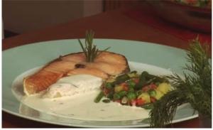 Рыба с соусом из сливочного сыра